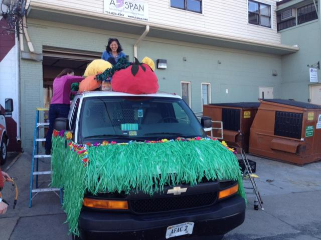 Earlier on Tuesday, the van being decorated by Kristen and Puwen