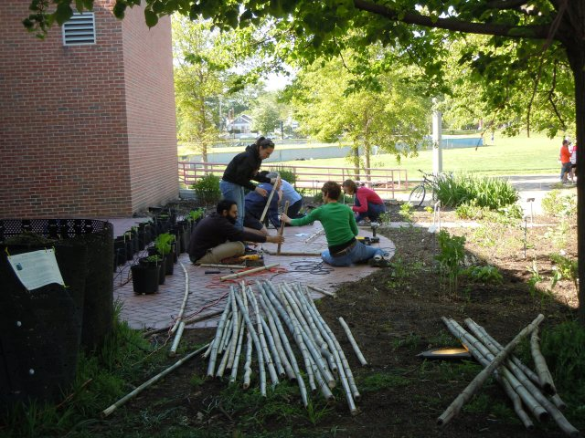 Fence builders hard at work.