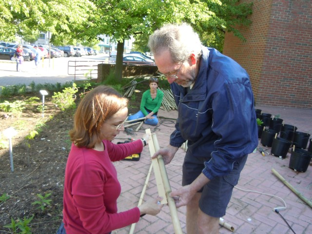 Kristin and Dick practice measuring twice to cut once...
