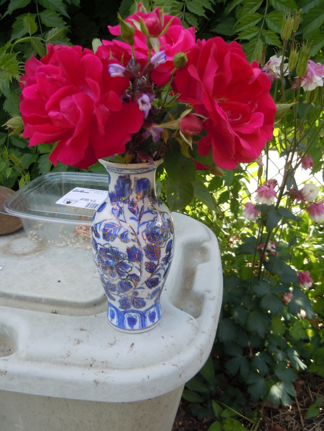 This week I remembered to bring a vase.  And yes, these roses have a lovely scent!