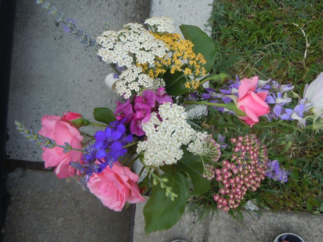 Roses, yarrow, lavender, sweet peas and larkspur; the perfect June bouquet.