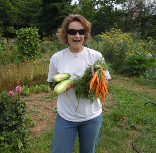Jane with some of our Plot Against Hunger harvest.