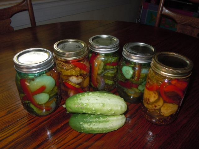 My pickles from this morning and more cukes from this afternoon!