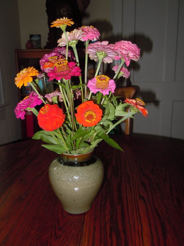 I have Alex to thank for the zinnia bouquet in my living room.