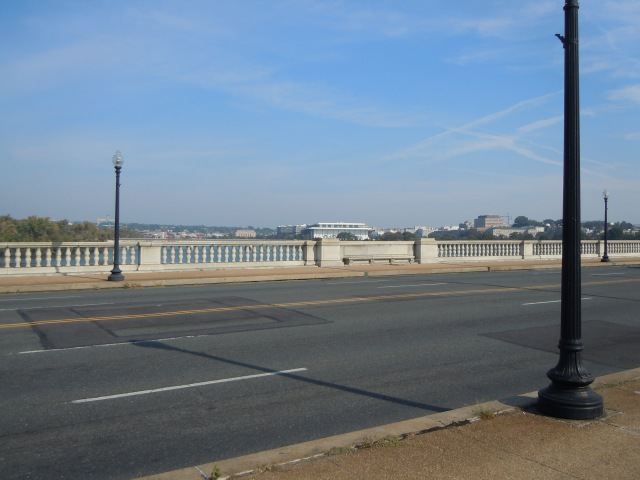 At Arlington Cemetery I take a left and head for Memorial Bridge.  You can just barely see the Kennedy Center here...center, above the railing.