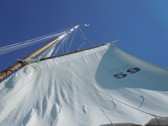 A view of the mainsail, which is gaff rigged.