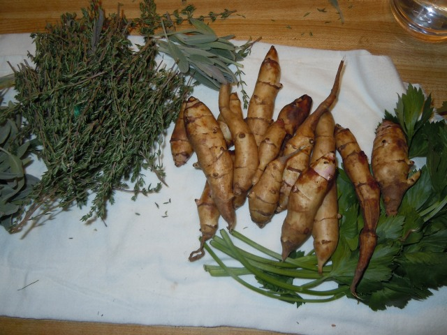 I had sage, thyme and cutting celery to go with these.  They are easy to peel with a vegetable peeler.