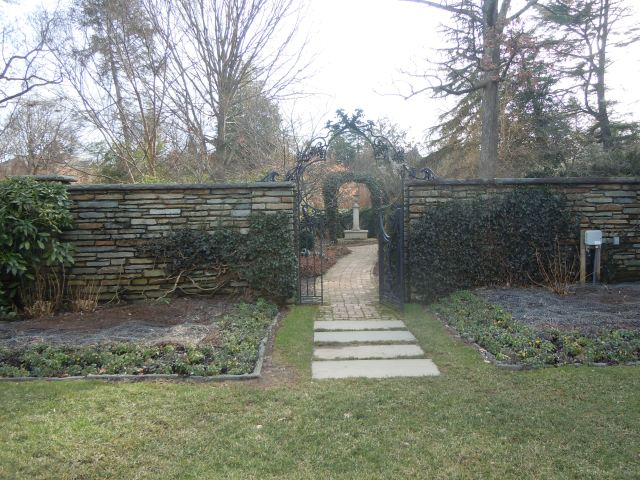 through an archway,