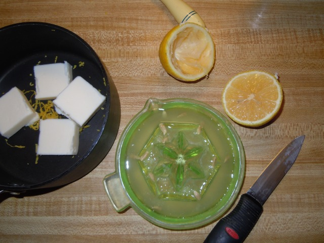 Juice the lemon and add butter and sugar.