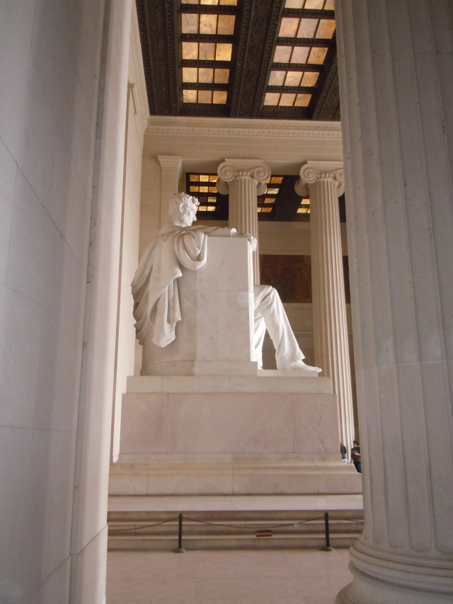 This is a view from Lincoln's south side.  Kelly noised that the cloak hanging on the back of the chair had seams sculpted into it.