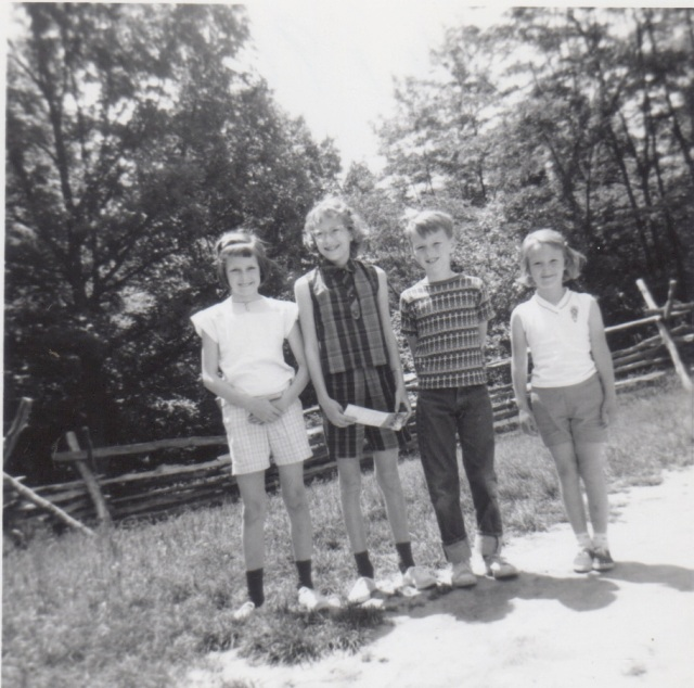 Vicki, Allison, my brother Scott, and me--trying to stand as tall as my older cousins in 1963.