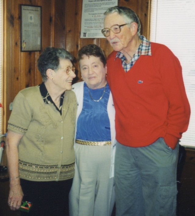 Aunt Mabel, Aunt Gene, and my Dad at my parent's surprise 50th wedding anniversary party...