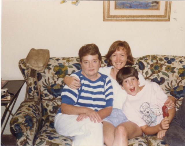 With Aunt Gene and Talley, my cousin Vicki's daughter at Allison's in 1987.  Talley now has her own 12-year-old.