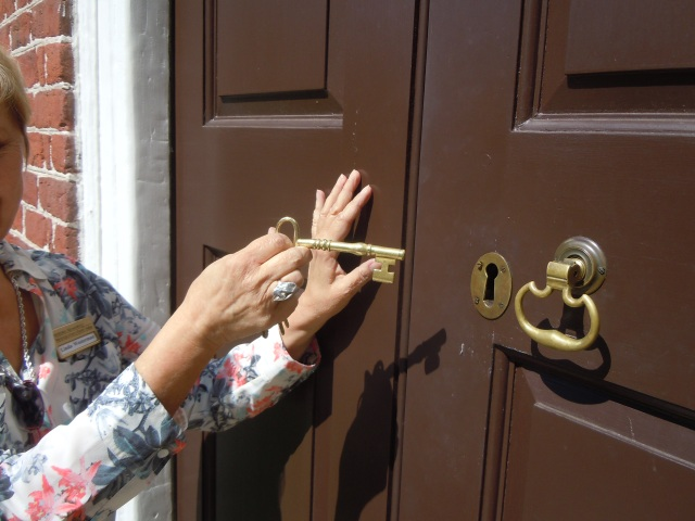 This is the key to the front door of Kenmore, wielded by our tour guide.