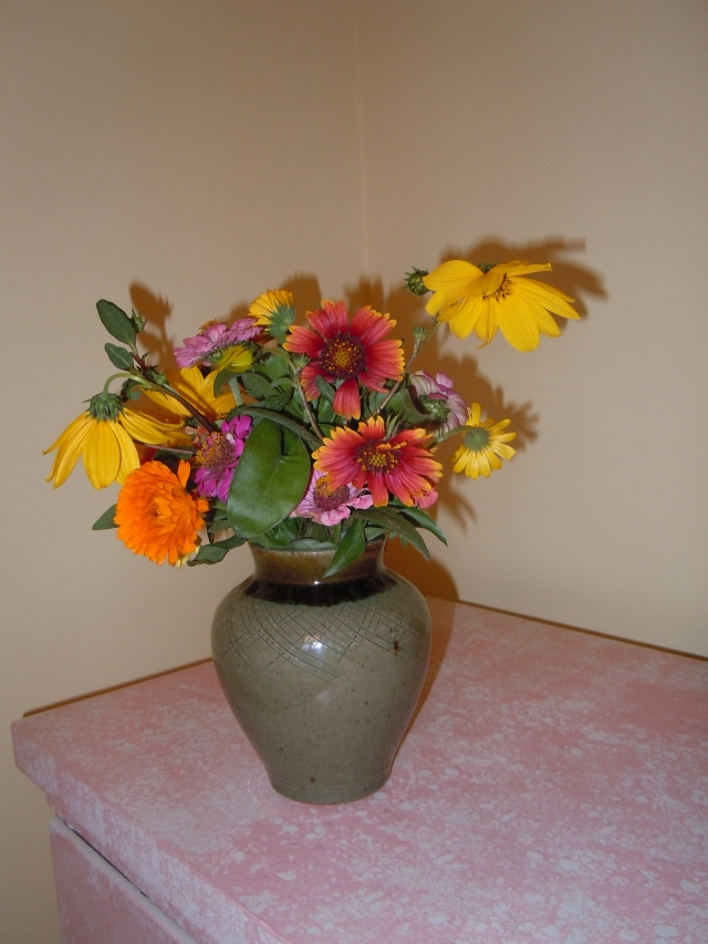 I brought home a bouquet of fall flowers.
