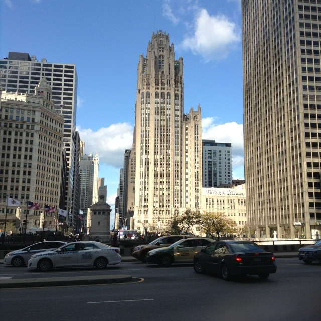 The Tribune Tower at the beginning of the Magnificent Mile.